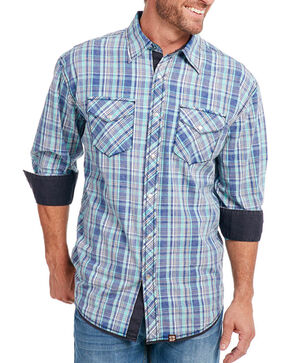 Cowboy Up Men's Vintage Wash Plaid Long Sleeve Shirt, Blue, hi-res
