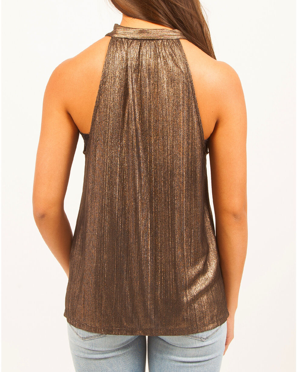 Others Follow Women's Metallic Draping Necktie Sleeveless Top, Gold, hi-res