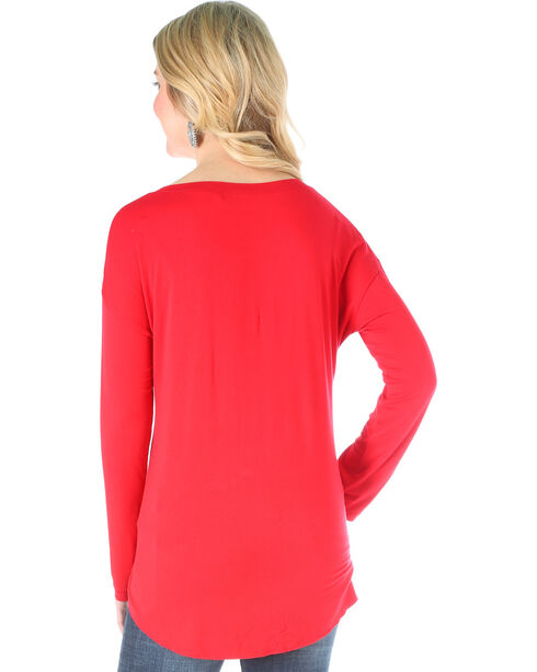 Wrangler Women's Red Knit Henely Long Sleeve Top , Red, hi-res