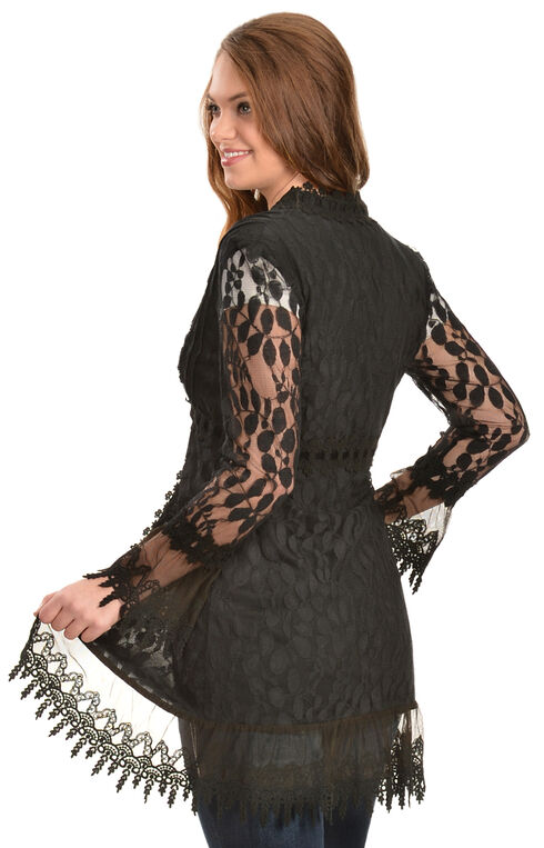 Young Essence Women's Black Crocheted Lace Cardigan, Black, hi-res