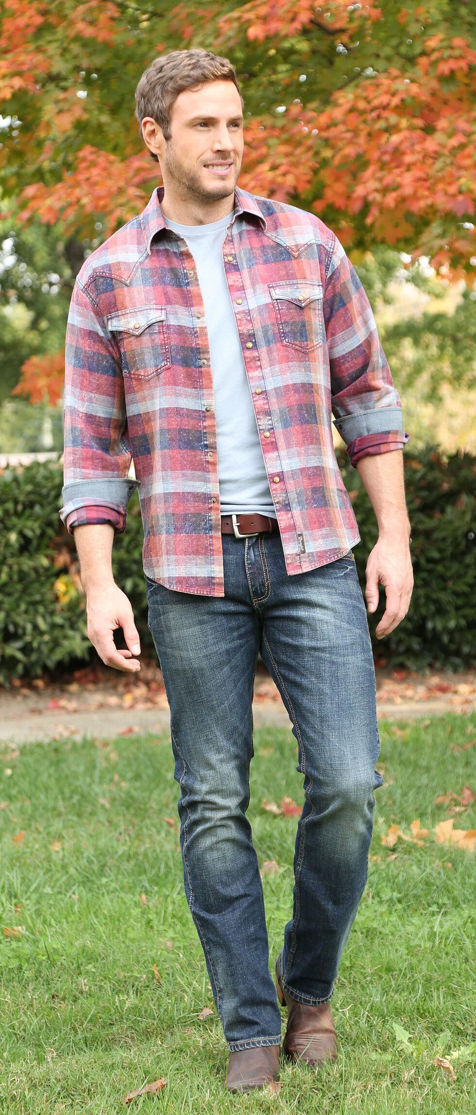 Wrangler Retro Men's Long Sleeve Two Needle Topstitch Shirt, Russet, hi-res