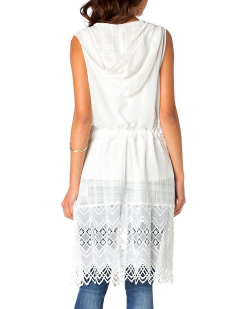 Miss Me Women's Sleeveless Hooded Fashion Duster, White, hi-res
