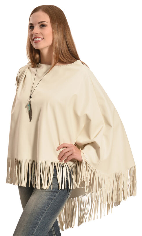 Cowgirl Justice Women's Mariah Fringe Poncho, Cream, hi-res
