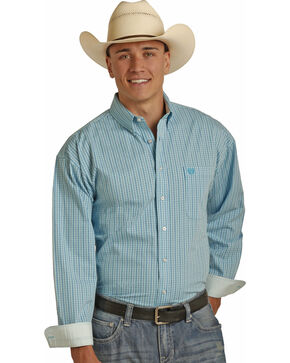 Panhandle Men's Yarndye Satin Check Shirt , Blue, hi-res