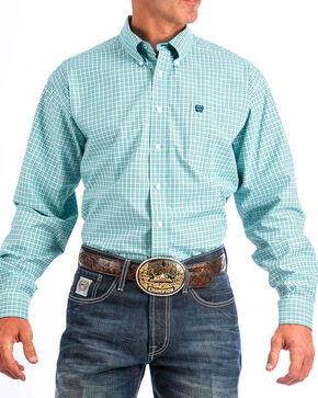 Cinch Men's Turquoise Small Plaid Western Shirt , Turquoise, hi-res