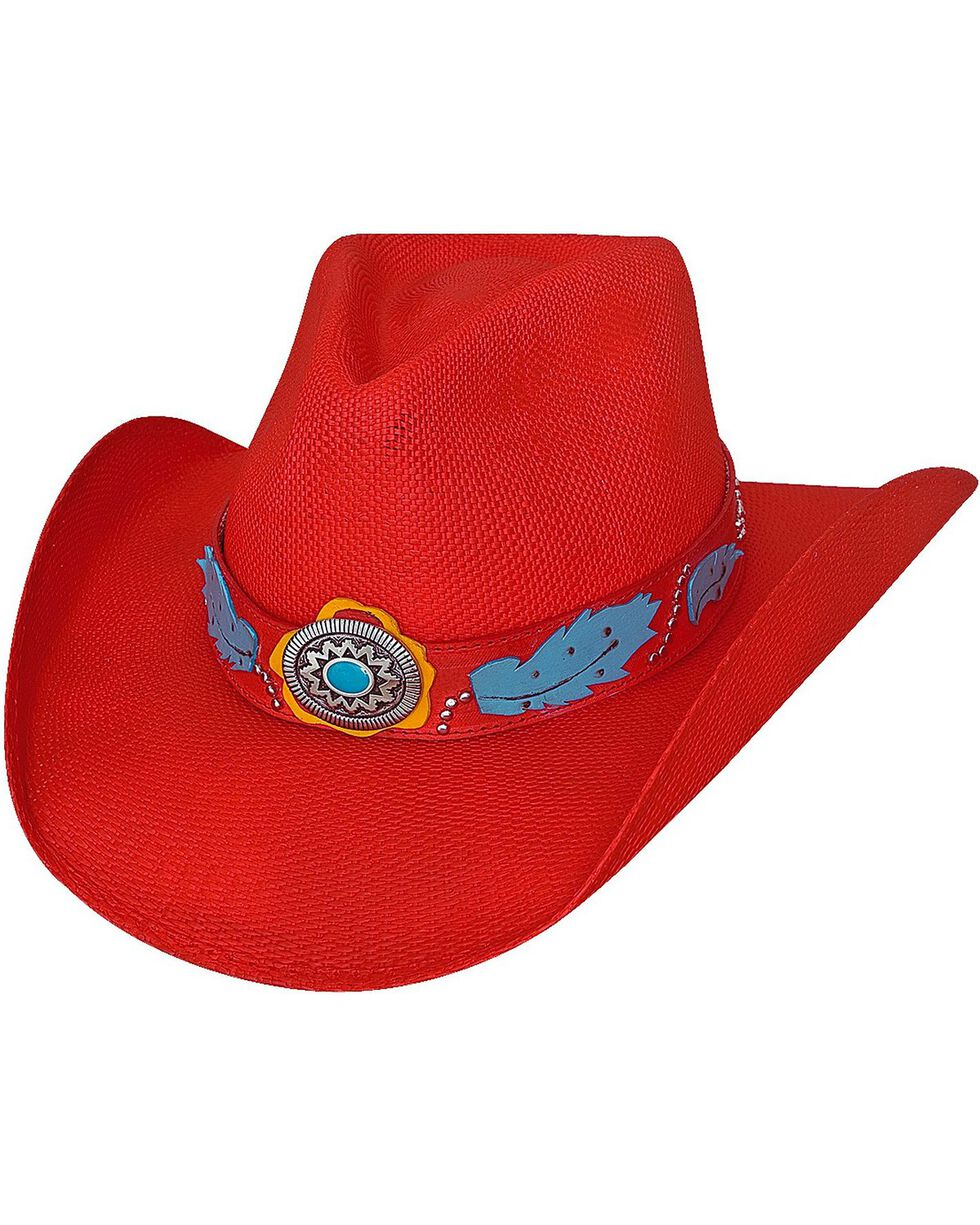 Bullhide Wild One Bangora Straw Cowgirl Hat, Red, hi-res