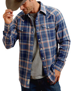 Stetson Men's Blue Plaid Long Sleeve Snap Shirt, Blue, hi-res