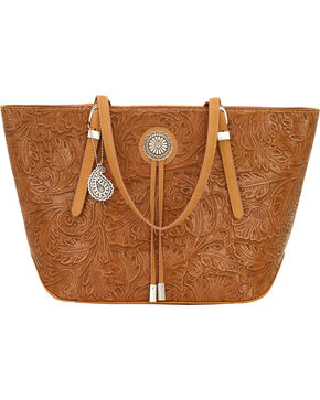 Bandana by American West Dallas Tan Zip Top Tote , Tan, hi-res