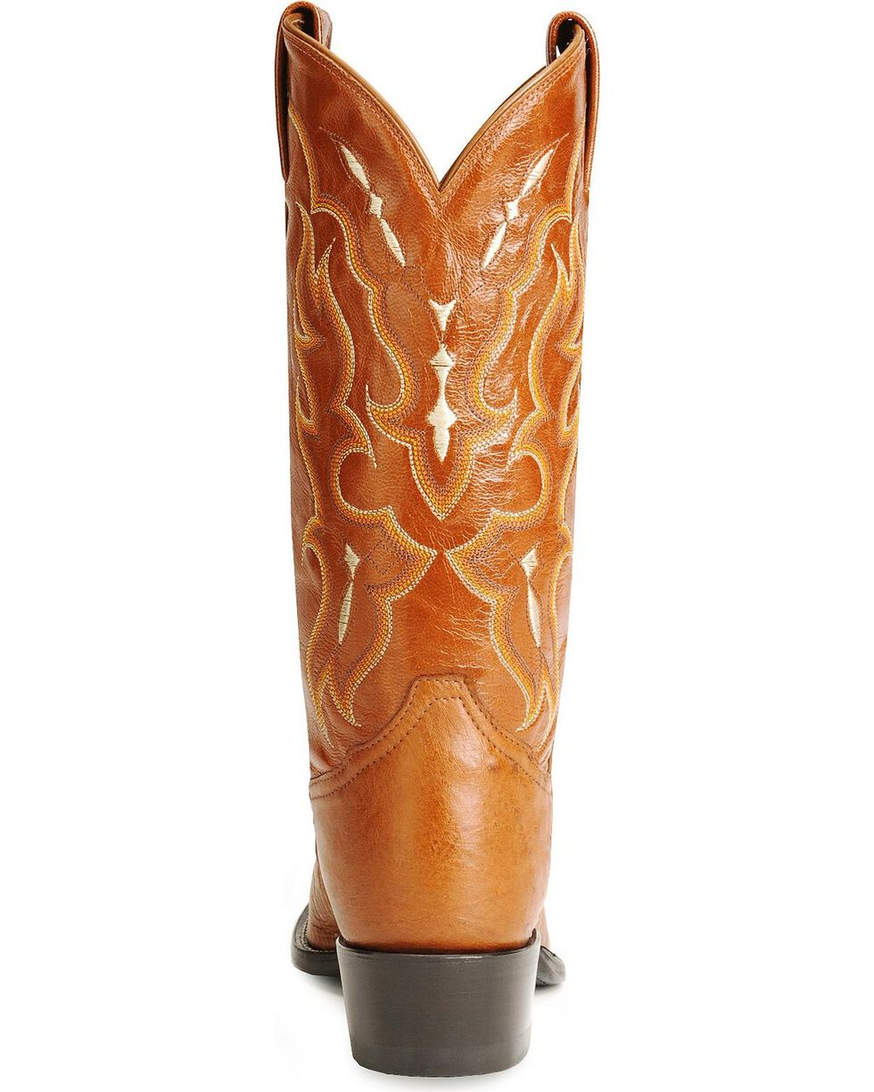 Tony Lama smooth ostrich cowboy boots, Peanut Brittle, hi-res