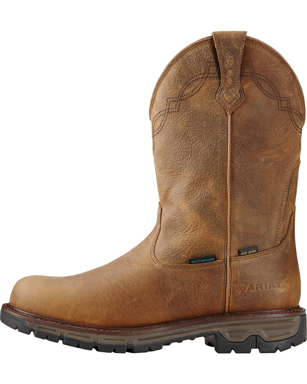 Ariat Men's Insulated Conquest Waterproof Pull-On Hunting Boots - Round Toe, Brown, hi-res