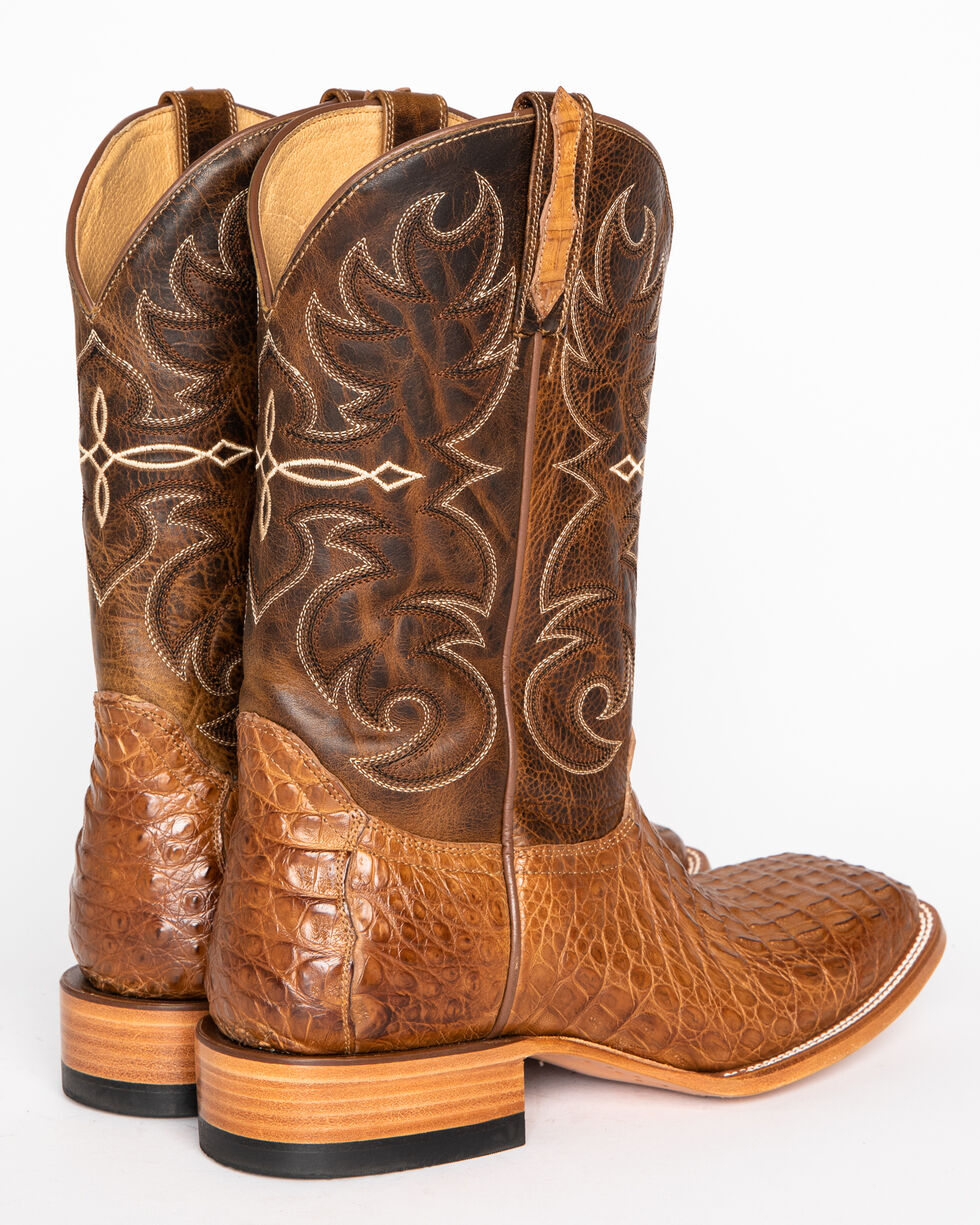 Cody James Men's Burnished Caiman Exotic Boots - Square Toe, Brown, hi-res