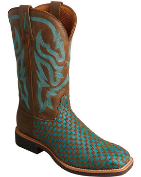 Twisted X Turquoise Basketweave Top Hand Cowgirl Boots - Square Toe , Brown, hi-res