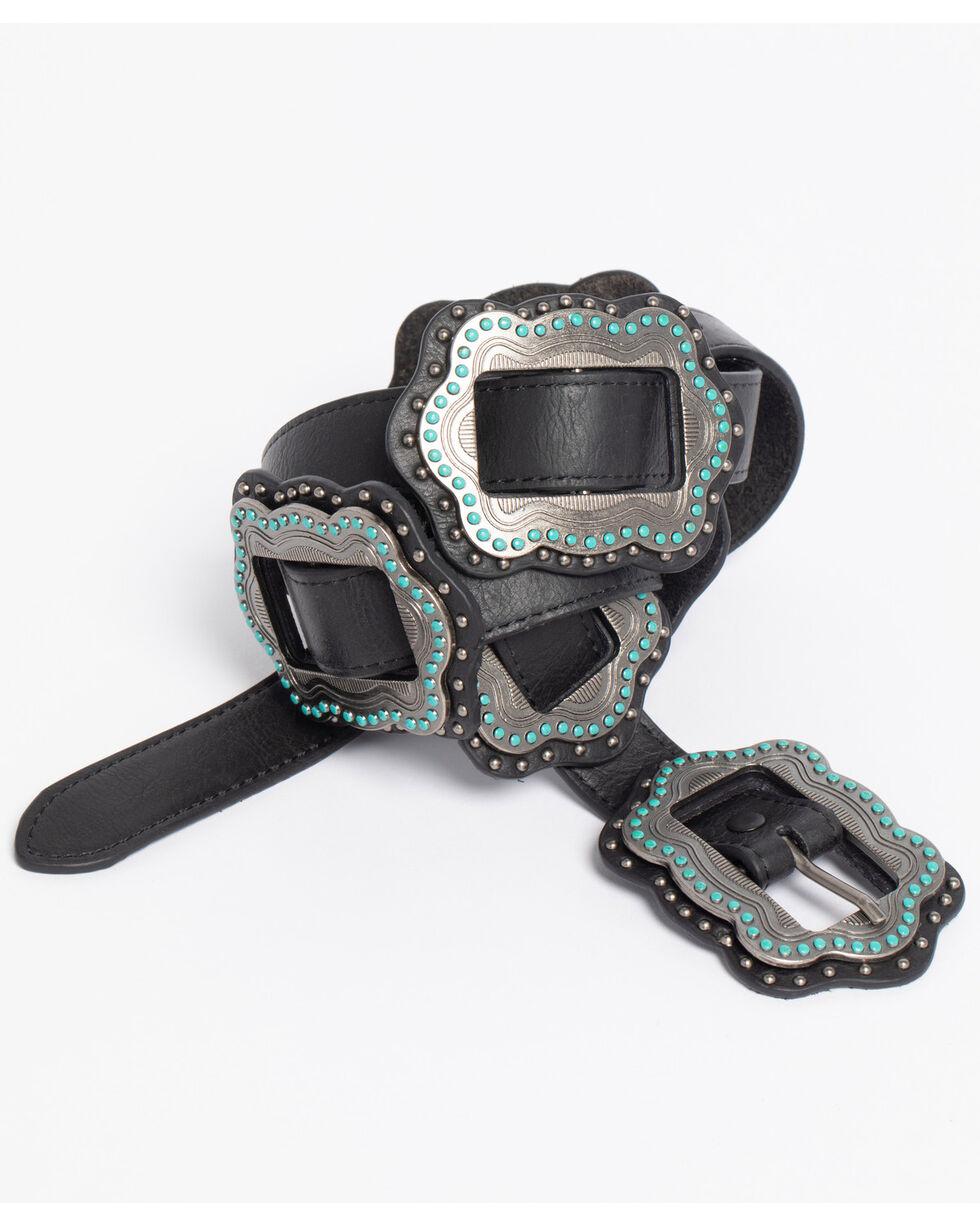 Roper Women's Black Slide-On Conchos Belt, Black, hi-res