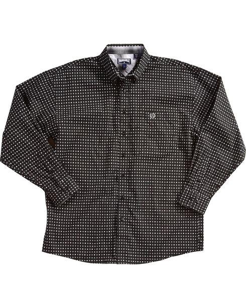 Panhandle Men's Peached Cotton Print Shirt , Black, hi-res