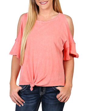 Z Supply Women's Cold Shoulder Tie Front T-Shirt, Coral, hi-res