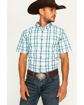Cody James Men's Winston White Plaid Short Sleeve Button Down Shirt, White, hi-res