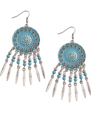 Shyanne Women's Silver and Turquoise Concho Chandelier , Turquoise, hi-res