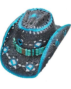Western Express Women's Blue Straw Hat , Black, hi-res