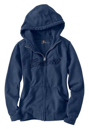 Carhartt Clarksburg Zip-Front Hooded Sweatshirt, Indigo, hi-res