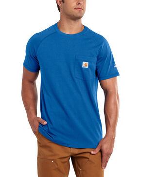 Carhartt Men's Force Cotton Blue Short Sleeve Shirt, Med Blue, hi-res