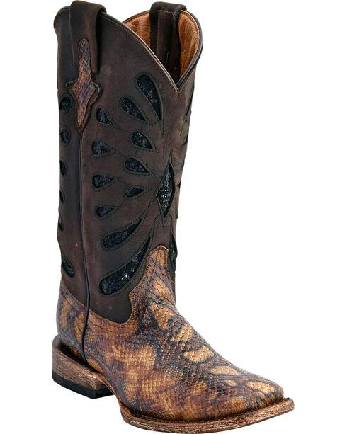Ferrini Women's Snake Print Western Boots - Square Toe, Black, hi-res