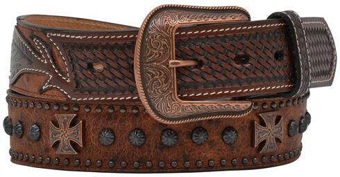 Vintage Ostrich Studded Cross & Concho Belt, Brown, hi-res