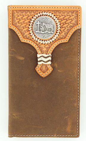 Nocona Basketweave Leather Overlay Cowboy Prayer Concho Rodeo Wallet, Med Brown, hi-res