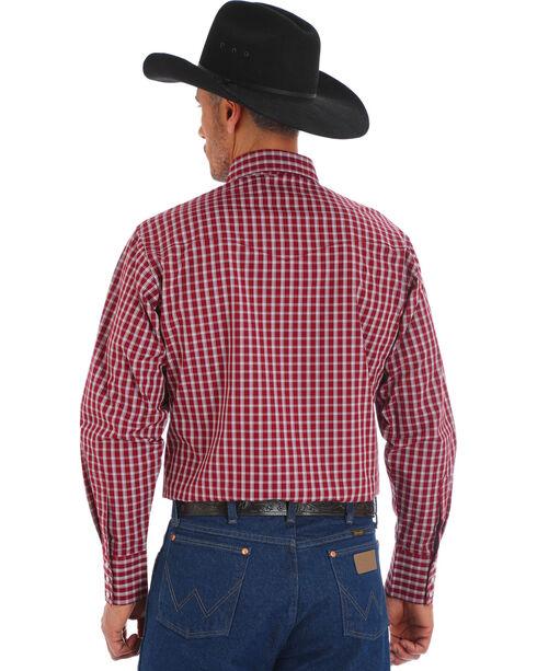 Wrangler Men's Wrinkle Resistant Burgundy Plaid Western Snap Shirt, , hi-res
