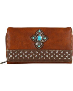 Shyanne Women's Concho Cross Wallet , Brown, hi-res