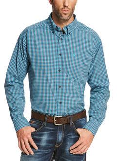 Ariat Men's Blue Reed Long Sleeve Shirt  - Big and Tall, Blue, hi-res
