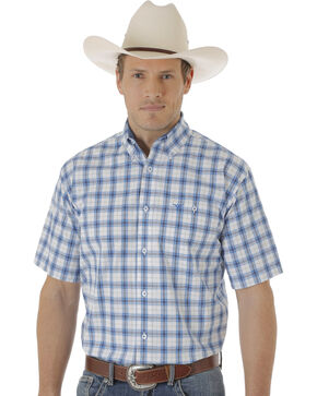 Wrangler Men's Blue and White Plaid 20X Short Sleeve Western Shirt , Blue, hi-res