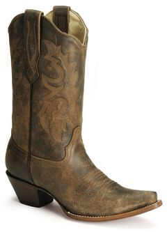 Corral Distressed Leather Western Cowgirl Boots - Snip Toe, , hi-res