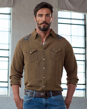 Ryan Michael Men's Silk Linen Western Shirt, Brown, hi-res