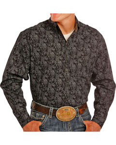 Rock & Roll Cowboy Men's Black Tuf Copper Paisley Print Shirt , Black, hi-res