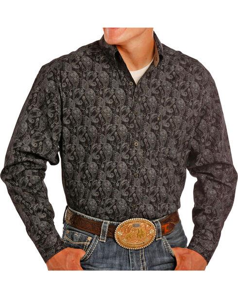 Tuf Copper Men's Black Paisley Print Shirt , Black, hi-res