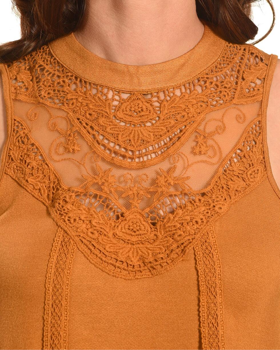 Eyeshadow Women's Crochet Lace Yoke Knit Tank, Gold, hi-res