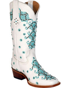 Ferrini White Country Lace Cowgirl Boots - Square Toe, , hi-res