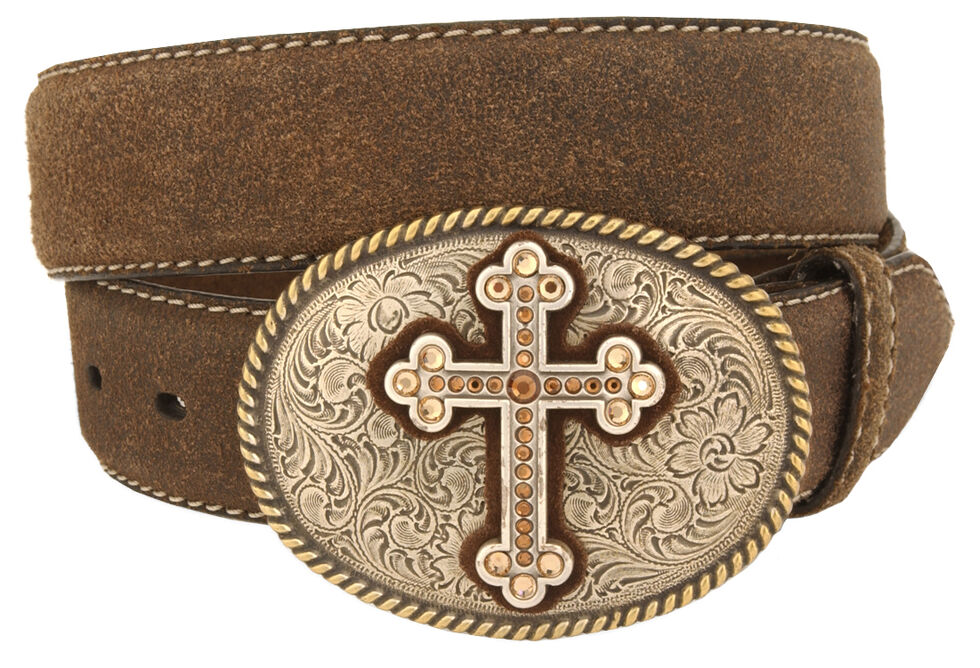 Nocona Cross Vintage Distressed Leather Belt, Brown, hi-res