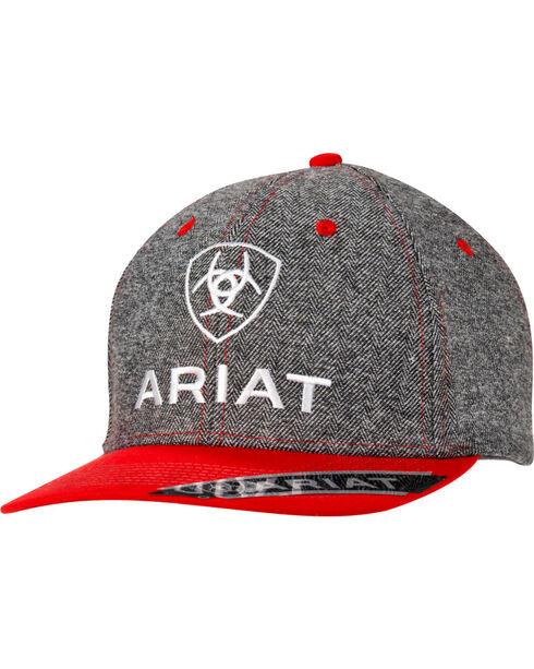 Ariat Men's Grey & Red Logo Cap, Grey, hi-res