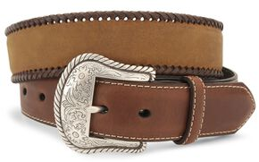 Nocona Concho Braided Edge Leather Belt - Reg & Big, Brown, hi-res