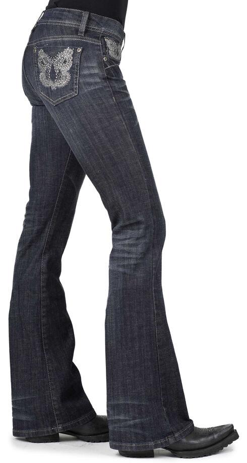 Stetson Women's 816 Metallic Stitch Bootcut Jeans, Denim, hi-res