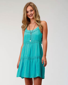 Roper Women's Turquoise Tiered Sundress, Turquoise, hi-res