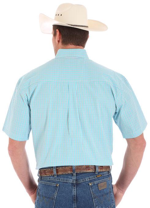 Wrangler George Strait Men's Short Sleeve Green Checkered Two Pocket Button Shirt, Green, hi-res