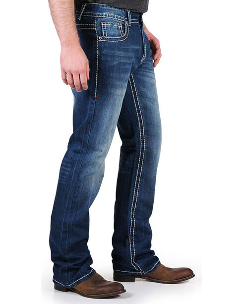Realtree Men's Top Pocket Camo Faded Jeans - Boot Cut, Blue, hi-res