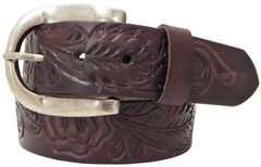 Roper Brown Women's Hand-tooled Leather Belt, , hi-res
