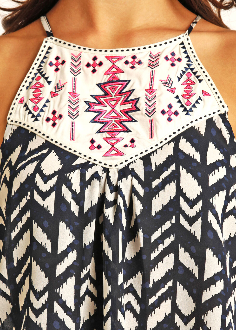 Rock & Roll Cowgirl Women's Navy Sleeveless Printed Chiffon Top, Navy, hi-res