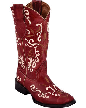 Ferrini Women's Gypsy Red Cowgirl Boots - Square Toe , Red, hi-res