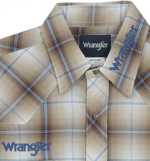 Wrangler Khaki Plaid Logo Western Shirt - Tall Sizes , Khaki, hi-res