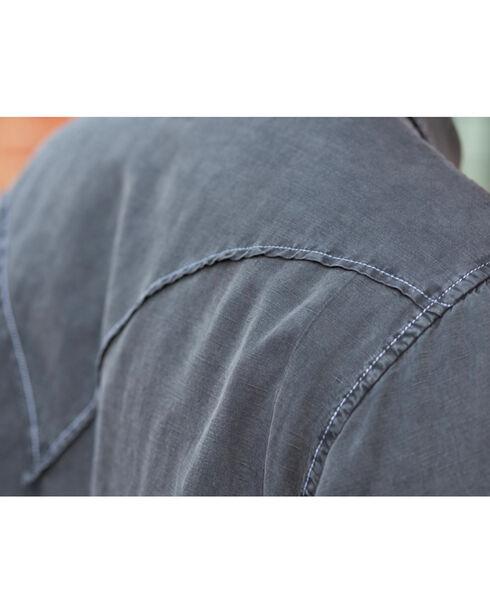 Ryan Michael Men's Night Black Saw Tooth Silk Linen Shirt, Black, hi-res