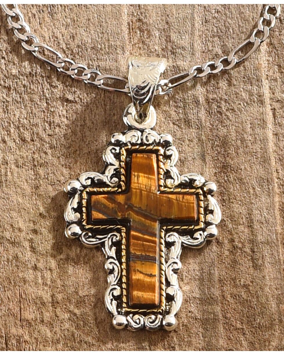 Shyanne Women's Tiger Eye Cross Necklace, Silver, hi-res